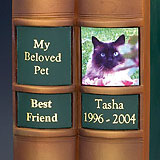 Keepsake Labels for Library Edition Pet Cremation Urns, Green Title
