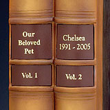 Two Book Label for Library Edition Pet Urns, Burgundy Titles